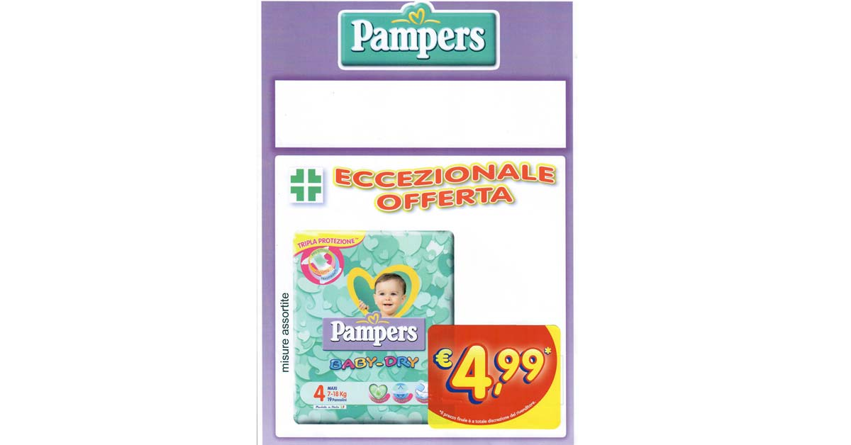 Super offerta PAMPERS BABY-DRY dal 19 gennaio 2018 al 15 marzo 2018!